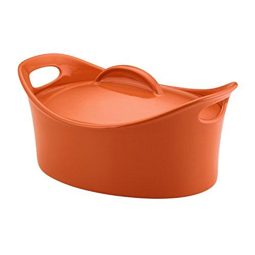 Rachael Ray Stoneware 4.25-Quart Covered Bubble and Brown Casseroval Casserole, Orange