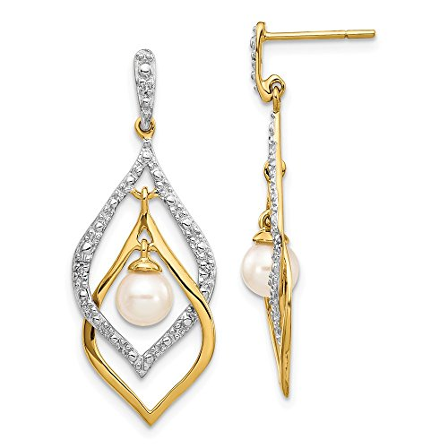 14k Yellow Gold 6mm White Round Freshwater Cultured Pearl .02ct Diamond Drop Dangle Chandelier Post Stud Earrings Fine Jewelry Gifts For Women For Her
