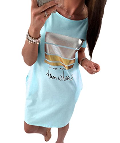 Neck Floral Dress Sleeves Blue Coolred Tshirt Round Print Bronzing Women Leisure Short xwqqpYgR