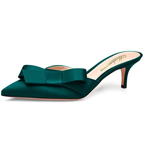 Modemoven Women's Dark Green Red Soles Satin Heeled Mules Shoes,Sexy Summer Slippers,Cute Bow Tie Mid Heel Sandals 6 M US - Womens Green Mid Heel