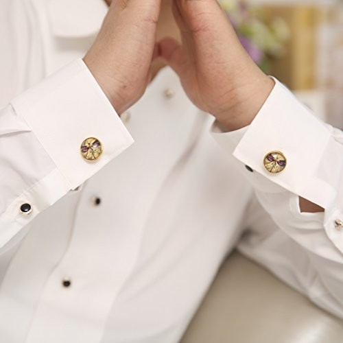 ZUNON World Map Cufflinks Wedding Personalised Gifts for Father Grandfather Dad Tie (World map Cufflinks and tie clips gold) by ZUNON (Image #5)