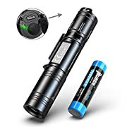 #LightningDeal WUBEN EDC LED Flashlight 1200 High Lumens Tactical USB Rechargeable IP68 Waterproof Ultra Bright Flashlights Torch 5 Lighting Modes with 18650 Battery Included for Outdoor Camping Hiking Cycling