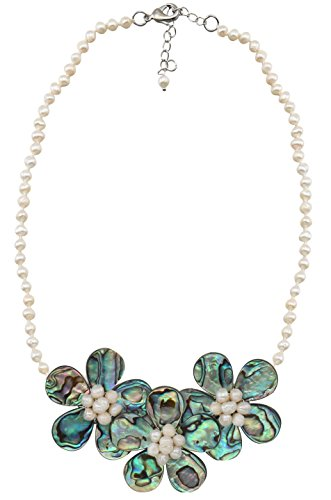 MagicYiMu Flower Chain Beaded Statement Pendant Necklace Natural Abalone Shell Synthetic Pearl Jewelry for Women ()