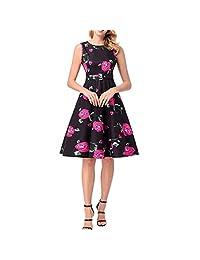 KERVINJESSIE Vestidos de Rockabilly Retro sin Mangas de la Vendimia de la impresión Floral 50S de Las Mujeres con la Correa (Color : Red, Size : L)