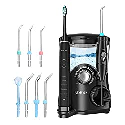 Water Flosser, ATMOKO 600ml Oral Irrigator & Electric Toothbrush with 7 Multifunctional Jet Tips, 3 Min Timer, Dental Water Flosser for Braces Care & Teeth Cleaning, Quiet Design Family