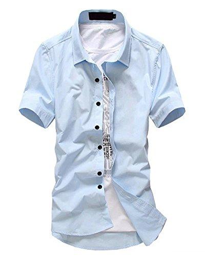 Slim Western Pearl Snap Shirt (Wxian Men's Casual Slim Short Sleeve Shirt)