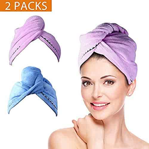 2 Pack Hair Towel Wrap Turban Microfiber Drying Bath Shower Head Towel with Buttons, Quick Magic Dryer, Dry Hair Hat, Wrapped Bath Cap By Duomishu, Normal
