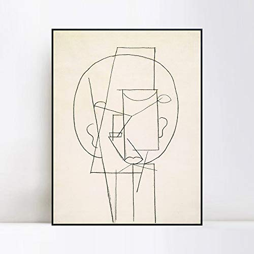 INVIN ART Framed Canvas Giclee Print Art Head 1913,by Pablo Picasso Wall Art Living Room Home Office Decorations(Black Slim Frame,20