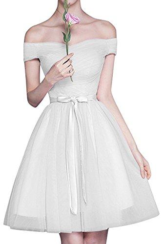 A mia La Linie Brautjungfernkleider Cocktailkleider Schulterfrei Weiß Rock Braut Abendkleider Mini Rosa Tuell adxw6zBqnd