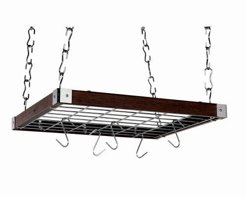 Concept Housewares PR-49293 Hardwood Square Hanging Pot Rack, Espresso
