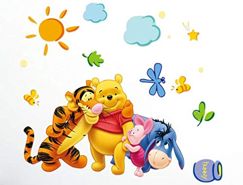 Winnie Pooh Wall Stickers - Wall Sticker Decal Winnie The Pooh and Friends for Kids Bedroom Nursery Daycare and Kindergarten Mural Home Decor DIY Self Adhesive Removable