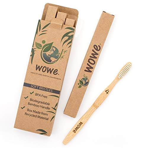 Wowe Natural Organic Bamboo Toothbrush Eco-Friendly Wood, Ergonomic, Soft BPA Free Bristles, Pack of 4 by Wowe (Image #3)