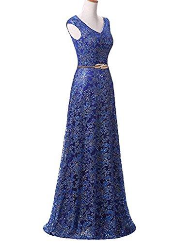 Sin De Mujer Vestido Maxi Bola Noche Blue Largo Treasures Boda Cordón Formal Vestidos Paseo Mangas XX1Hz