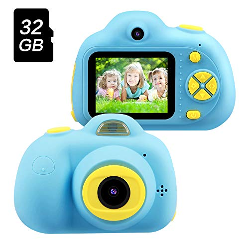 OMWay Best Birthday Gifts for Boys Age 3-8, Kids Digital Video Camera for Boys,Toys for Boys 4 5 6 7 8 Year Old,8MP HD Camcorders,Blue(32GB SD Card Included).