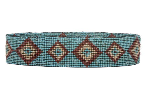 Diamond Pattern Southwest Beaded Stretch Belt Size: One-size-fits-all Color: Turquoise (Belt Beaded Turquoise)