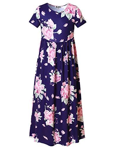 Jxstar Big Girls Maxi Dresses Ankle Length Floral Printed Dressy Long Dress Size 8 -