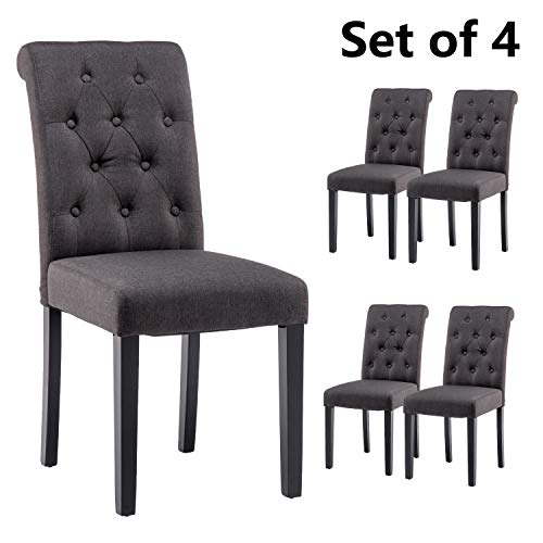 YEEFY Fabric Habit Solid Wood Tufted Parsons Dining Chair (Set of 4) (Charcoal) (Parsons Set Chair)