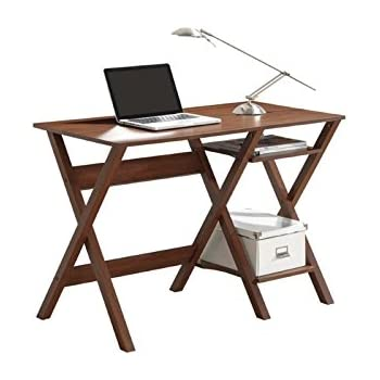 Techni Mobili Stylish Computer Desk With Side Shelves, Oak