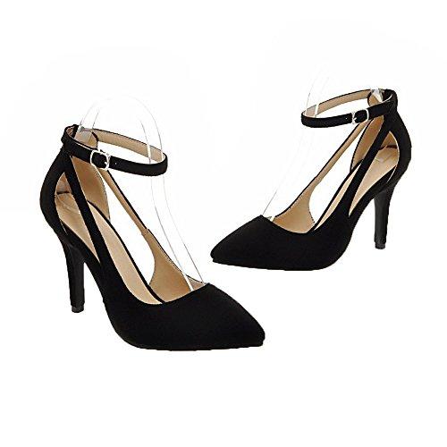 Nero Donna Tacco AgooLar Flats Solid Fibbia GMMDB006713 Ballet Medio an8Rqnx71