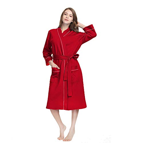 (M&M Mymoon Womens Cotton Robe Soft Breathable Kimono Robes Knit Bathrobe Loungewear Short Sleepwear Burgundy)