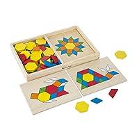 Melissa & Doug Pattern Blocks and Boards - Juguete clásico con 120 formas de madera maciza y 5 paneles de doble cara