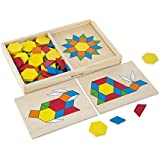 "Melissa & Doug Pattern Blocks and Boards Classic Toy, Developmental Toy, Wooden Shape Blocks, Double-Sided Boards, 120 Shapes & 5 Boards, 1.7"" H x 8.5"" W x 13.1"" L"