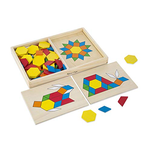 Melissa & Doug Pattern Blocks and Boards Classic Toy (Developmental Toy, Wooden Shape Blocks, Double-Sided Boards, 120 Shapes & 5 ()