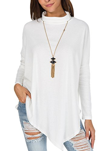 levaca Womens Batwing Sleeve Casual Baggy Irregular Pullover Poncho Shirts White S