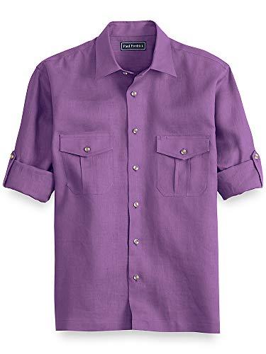 Paul Fredrick Men's Linen Casual Shirt Purple Medium (Paul Trim Fredrick)