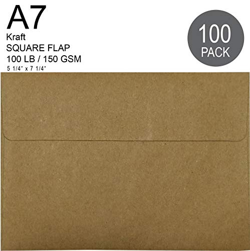 100% Recycled Kraft A7 Envelope 100 Pcs - Quick Self Seal, for 5x7 Cards | ECO Friendly | 5.25 x 7.25 inches 5 1/4