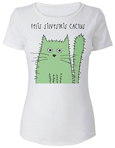 Felis Silvestris Cactus Cute Green Cacti Kitten Women's T-Shirt