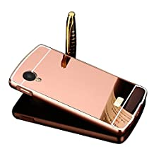 Vandot LG Google Nexus 5 Mirror Case,Luxury Ultra Thin Slim Fit Metal Aluminum Frame Bumper Reflective Effect Hard Back Cover Pattern [Non-slip] [Shock Absorbent] Protective Skin Shell-Rose Gold