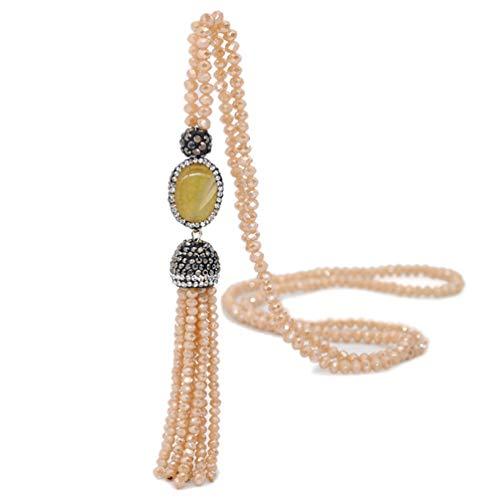 (Bohemian Agate Long Strand Necklace Tassel Fringe Handmade Crystal Beads Chain Women Girls Champagne)