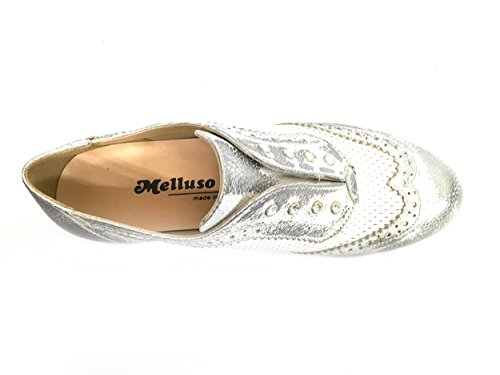 R30700 ACCIAIO Scarpa donna Melluso slip-on pelle made in Italy bianco argento