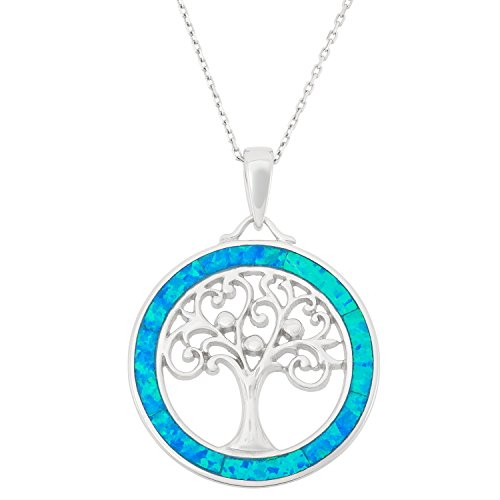 Sterling Silver Tree of Life Created Blue Opal Circle Pendant with 18