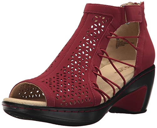 (JBU Women's Nelly Wedge Sandal, red, 12 M US)
