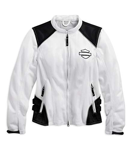Harley Davidson Punch - Harley-Davidson Official Women's Callahan Mesh Riding Jacket, White (Small)