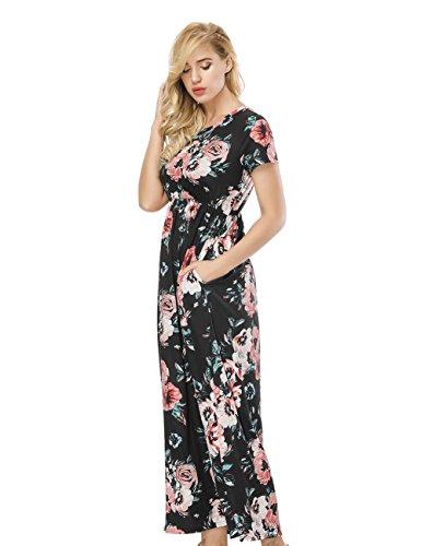 Largo Negro Estampada Huhhrry Manga Print Vestido O Ropa Mujer Top Verano Casual Falda Redondo Floral Moda De Cuello Para Fiesta Corta Rw5xrwqa