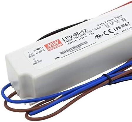 Transformador o Fuente de Alimentacion MEANWELL LPV-35-12V 35W 12V Impermeable IP67 AC//DC Externo