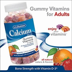 Vitafusion Calcium 500 mg with Vitamin D3, Bone Support, Gummy VItamins for Adults, Natural Creamy Swirled Orange, Strawberry, & Cherry Flavors, 130 Gummies