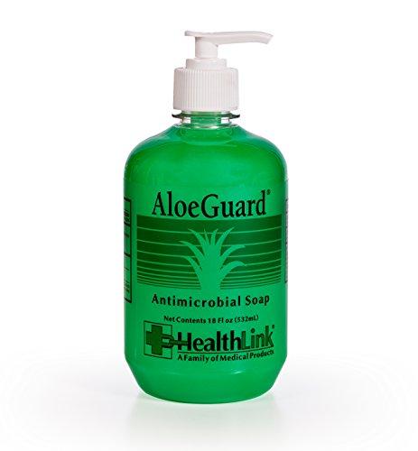 Healthlink AloeGuard Moisturizing Antimicrobial Soap, Aloe Vera Infused, PCMX, Light Floral Scent (18 oz Bottlle - Single) (Hand Antibacterial Moisturizing Gel)