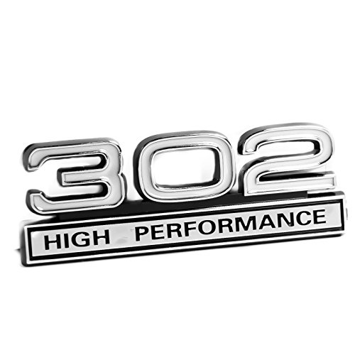 302 5.0 Liter Engine High Performance Emblem in White & Chrome - 4'' Long by Yates Performance
