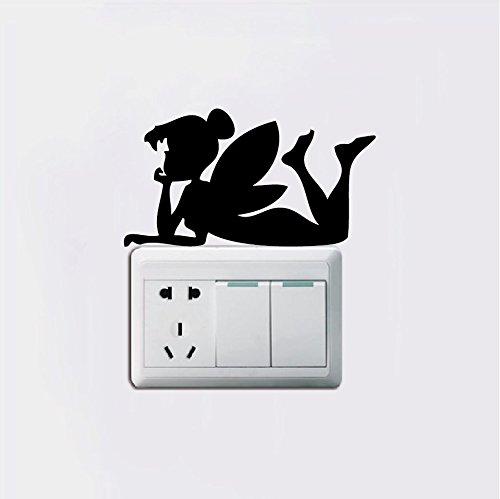 LXB Shop Tinkerbell Silhouette Light Switch Sticker Cartoon Vinyl Wall Stickers Home Decor Car Sticker 15cm