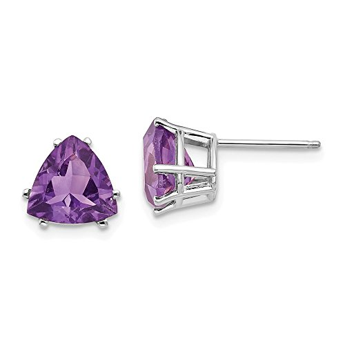14k White Gold Amethyst Trillion Stud Earrings