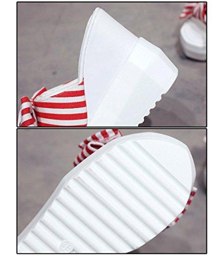 Rosso Spessa Fondo Cintura Flatform delle Caviglia Sandali Modo Sandali con Punta delle Chenang della di Tacco Sandali Scarpe A dell'Arco Alto Donne della Sandali Sexy UqfCZw