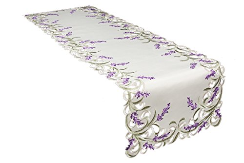 Xia Home Fashions XD17107 Lavender Lace Embroidered Cutwork Table Runner 15 by 53-Inch Ivory -