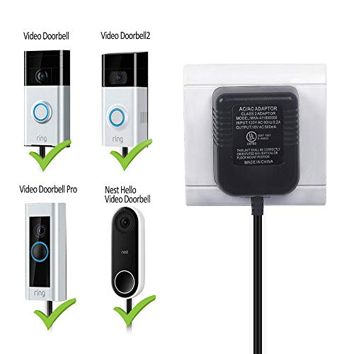 HOLACA Power Adapter 20ft/6m, Video Doorbell Power Supply Compatible for Ring Video Doorbell, Ring Video Doorbell Pro,Ring Video Doorbell,Ring Video Doorbell 2,Nest Hello,Power Supply, Adapter.