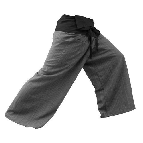 MEMITR 2 Tone Thai Fisherman Pants Yoga Trousers Free Size Cotton Black and (Weave Rayon Scarf)