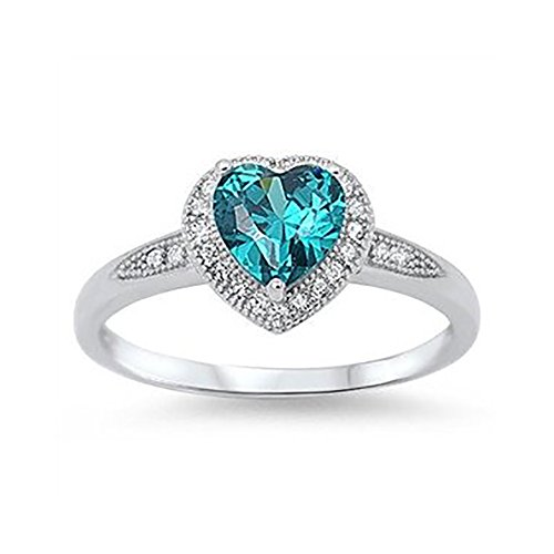 Blue Apple Co. Halo Style Wedding Engagement Heart Promise Ring 925 Sterling Silver Choose Color