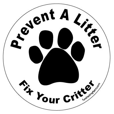 (Prevent a Litter Fix Your Critter circle magnet - White)